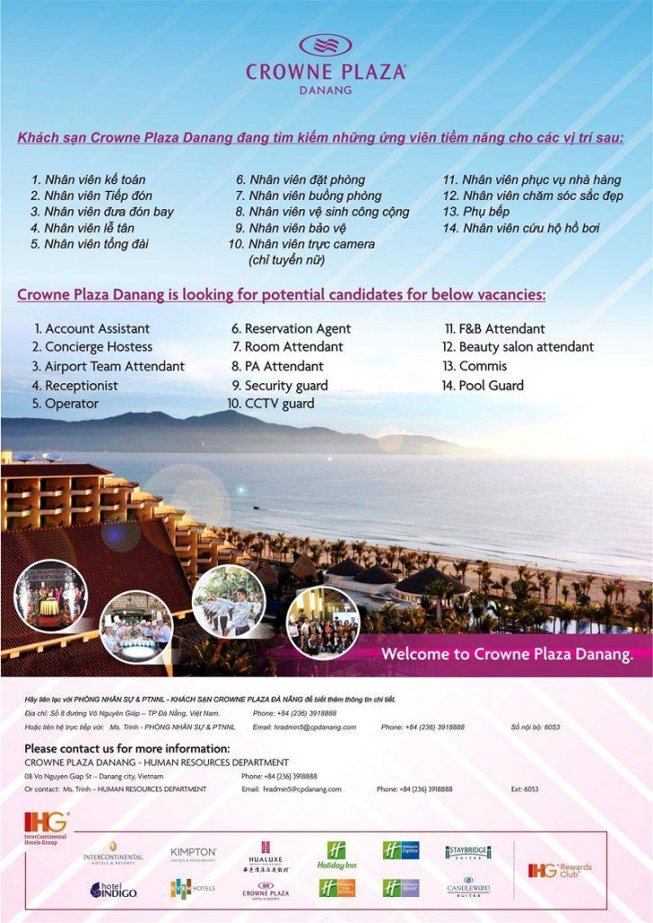 Crowne Plaza Danang Vietnam tuyển dụng tháng 02-2018