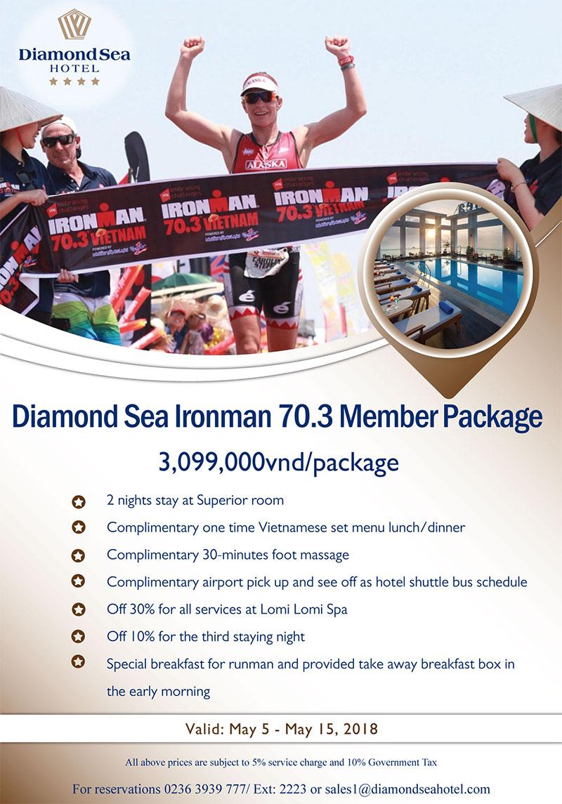 Diamond Sea Hotel: Gói khuyến mãi dành cho vận động viên Ironman 70.3 năm 2018