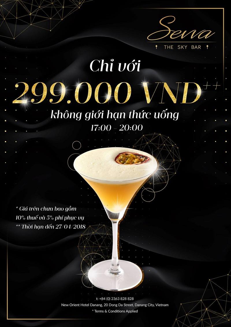 Trải nghiệm không giới hạn Sevva Sky Lounge Danang chỉ với 299.000 Vnđ