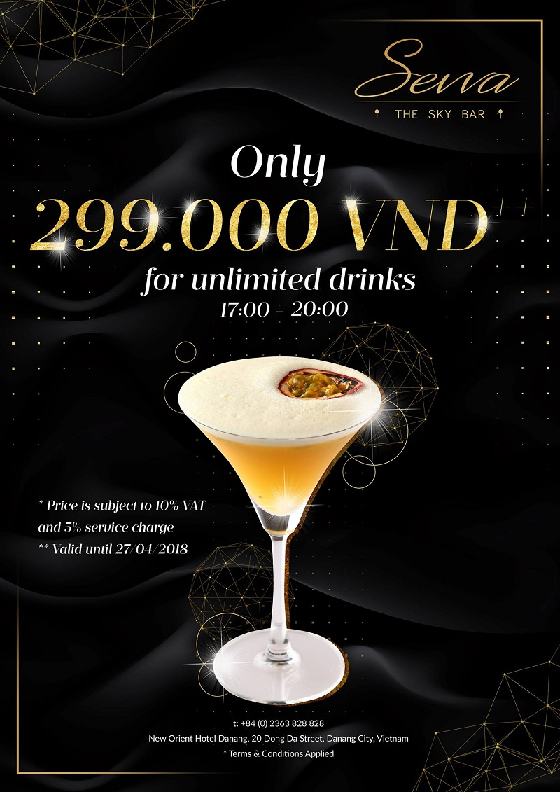 Unlimited drink at Sevva Sky Lounge