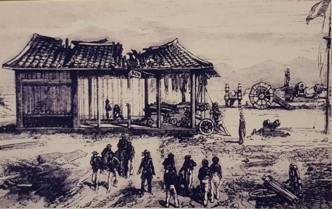 Quang cảnh thành Điện Hải sau khi bị quân Pháp đánh chiếm.