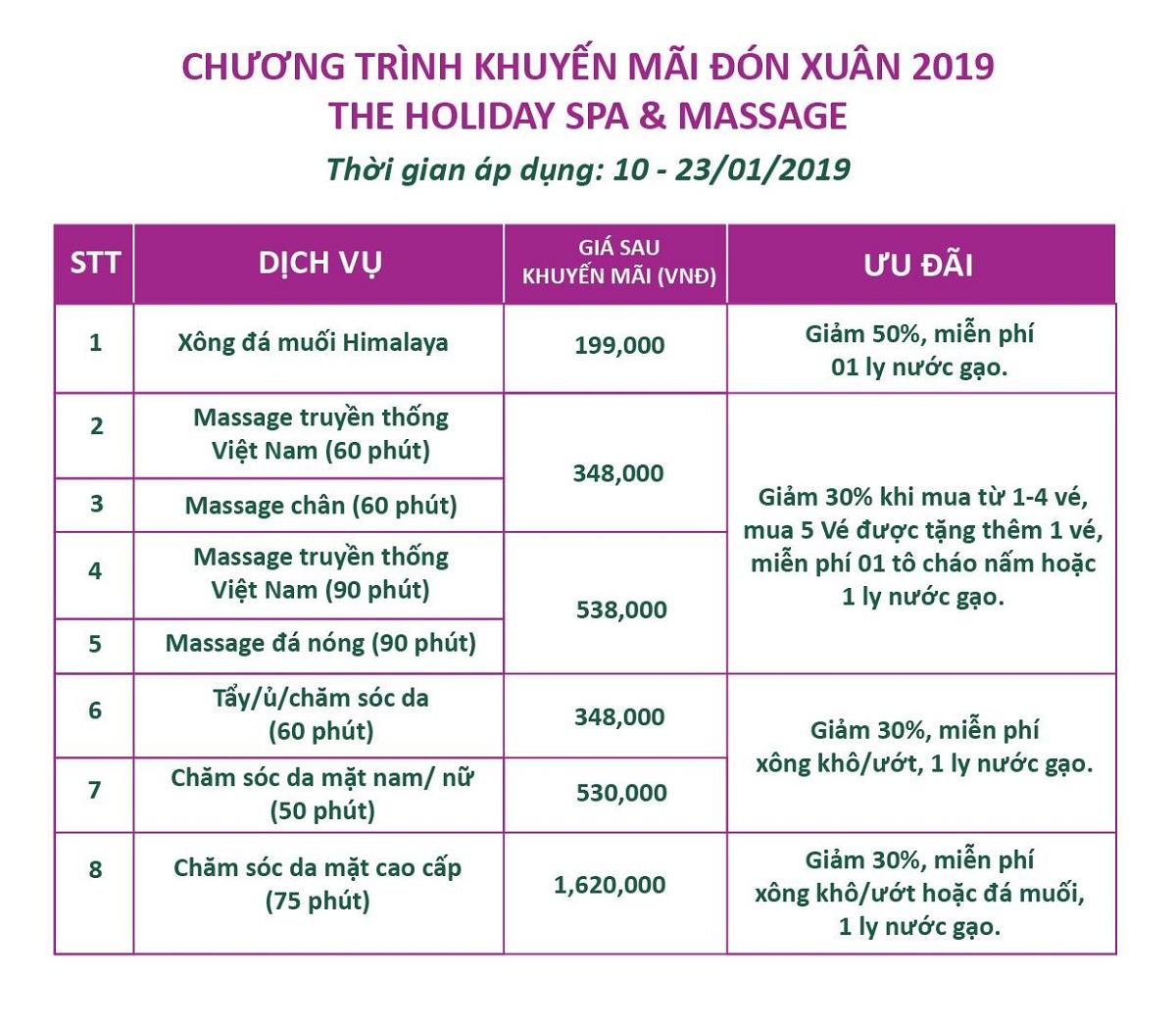 The Holiday Spa Massage: Đón xuân 2019, giảm lên đến 50% 1