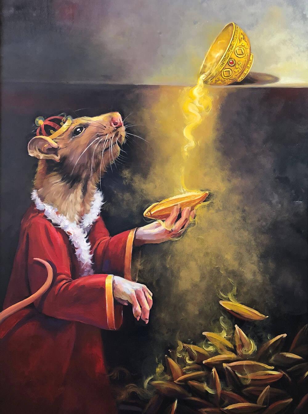 Lê Ngân Thũy,lộc Vàng, Acrylic, 100x140