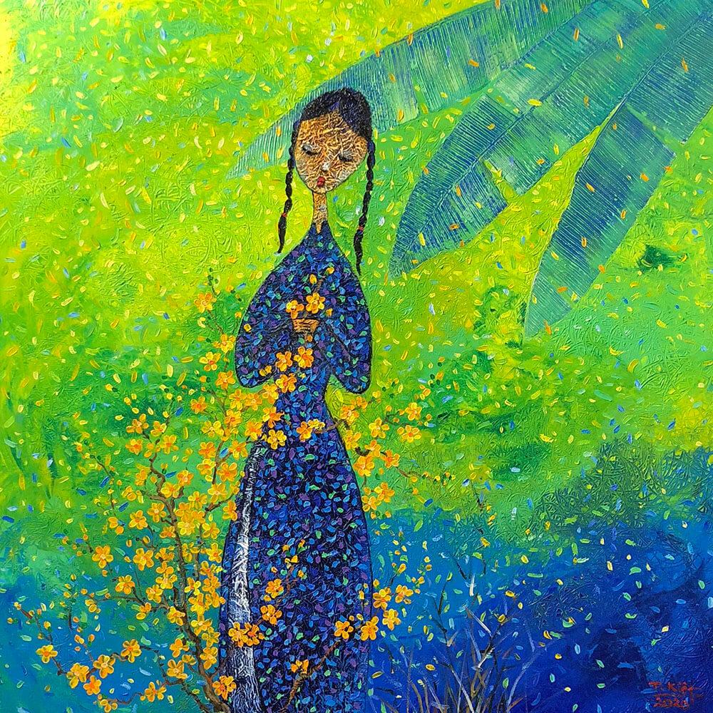 Nguyễn Tấn Kiệt, Nàng Xuân, Acrylic, 90x90